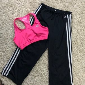 Adidas Capris and Sports Bra Workout Bundle