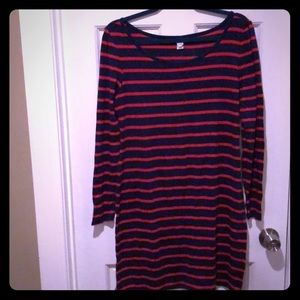 Navy blue/red striped dress