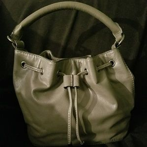 Draw string gray leather purse