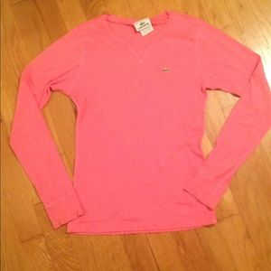 Lacoste Crew Sweater in Hot Pink
