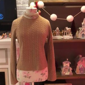 J. Crew wool blend cable knit sweater in tan