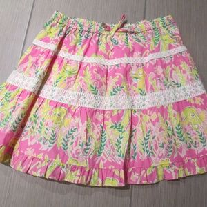 Lilly Pulitzer ruffle tier jungle print pink skirt
