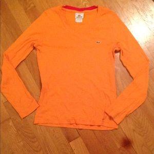 Orange Lacoste V Neck Sweater w/ Red Neck