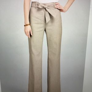 Stretch Beige Linen Pants with Sash