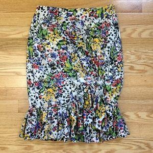 Edme & Esyllte Floral Ruffle Pencil Skirt Size 6