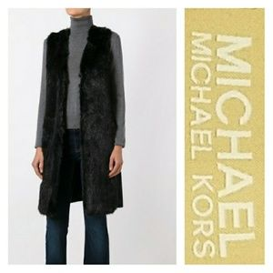 Michael Kors Black Faux Lambswool Vest
