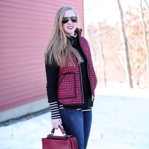 JCrew Red and Black gingham puffer vest