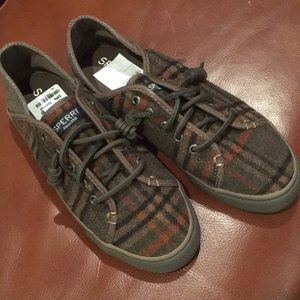 Sperry topsider wool plaid shoes