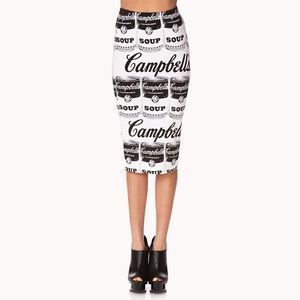 forever 21 • andy warhol campbells soup art skirt