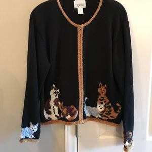 Christopher & Banks embroidered cat lover sweater