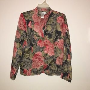 Coldwater Creek floral tapestry jacket small