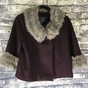 Forever 21 Plum Faux Fur Cropped Lined Coat Size S