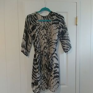 Express long sleeve patterned dress