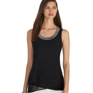 White House Black Market Embellished Tiered Top