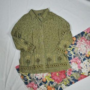 Vintage Boho Olive Embroidered Blouse