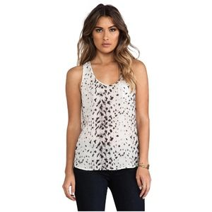 joie • silk snow leopard rain b racerback tank top