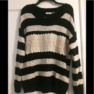 Black and cream striped and lace sweater