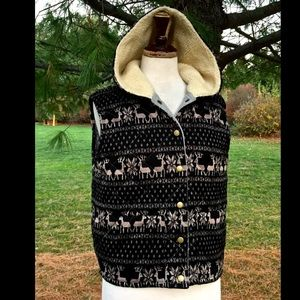 Free People black taupe Reindeer Hooded Vest M