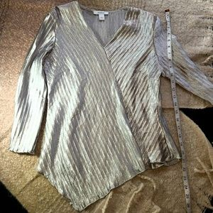 Shiny Silver crinkle blouse from Dress Barn