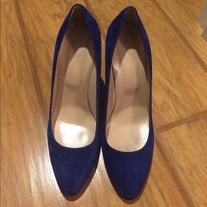 J. Crew blue suede block heels