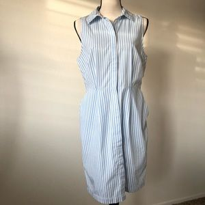 H&M Blue & White Striped Open-Back Dress