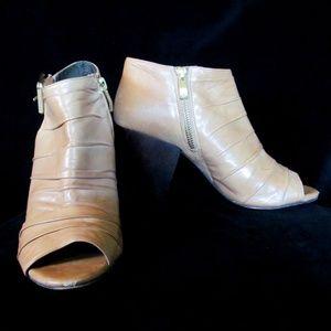 Vince Camuto Beige Peep Toe Wood Heel Ankle Boots