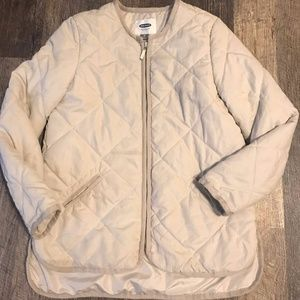 textured quilted thin puffer jacket