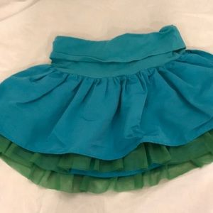 Gap turquoise skirt with green tulle
