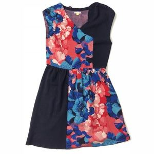 [Anthropologie] Colorblock Floral Stretchy Dress M