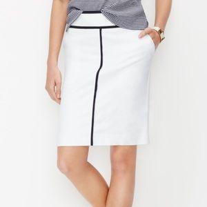 {ann taylor} white tipped a-line skirt