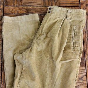 Pants - High Waisted Vintage Pleated Corduroy Pants