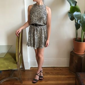 Vintage Silk Sleeveless Flared Mini Dress