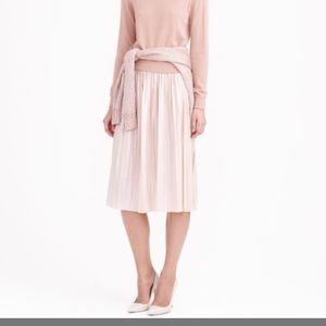 Pink metallic pleated midi skirt