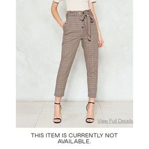 Nasty Gal Accept the Truth High Waist Plaid Pants