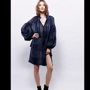 Free People Oversized black, blue & gray Check S