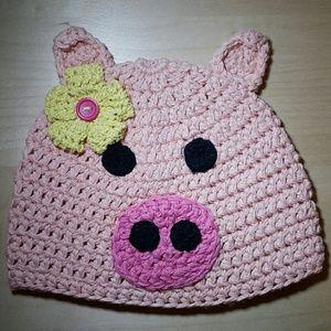 Other - Crochet piggy hat, Party Pig Hat, Animal hat