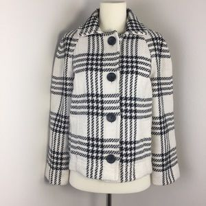 [Gap] blk white houndstooth plaid coat sz M