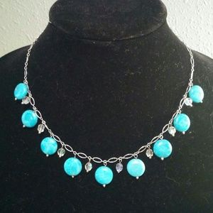 "18"" GENUINE TURQUOISE AND CRYSTAL 925 NECKLACE"