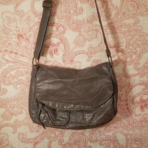 Charcoal Grey faux leather bag
