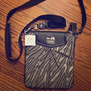 Coach Crossbody Purse—Black and Grey/Silver