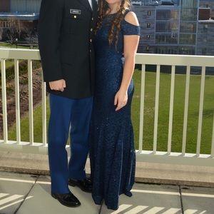 David's Bridal Navy Cold Shoulder Gown