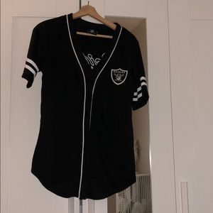 Oakland Raiders Baseball T Shirt