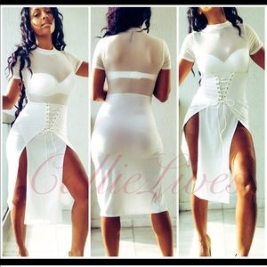 Sexy White Dress Mesh Lace Up Break Away Midi