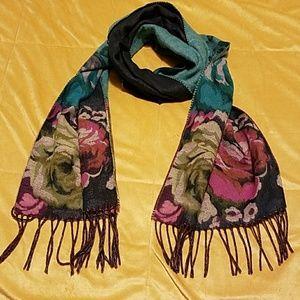 "Beautiful rose print scarf. 12""x62""L"