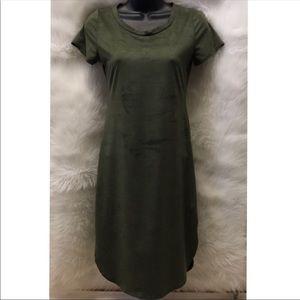 Olive Green Suede Short Sleeve Dress