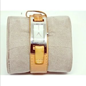 DKNY Camel Leather Cuff Watch Stainless NY3235