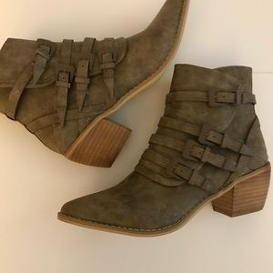 Taupe Buckle Detail Booties, Size 9