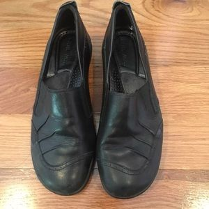 Michel M Black Leather Slip On