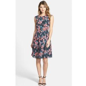 Halogen Floral Chiffon Pleat Fit & Flare Dress 8