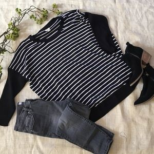 Jcrew Black/White Striped Sweater